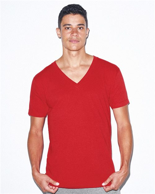 American Apparel 2456 USA-Made Unisex Fine Jersey V-Neck Tee Model Shot