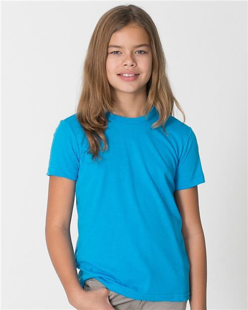 American Apparel BB201W Youth Poly-Cotton Short Sleeve T-Shirt Model Shot
