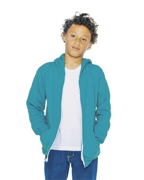 American Apparel F297W Youth Flex Fleece Zip Hooded Sweatshirt Model Shot