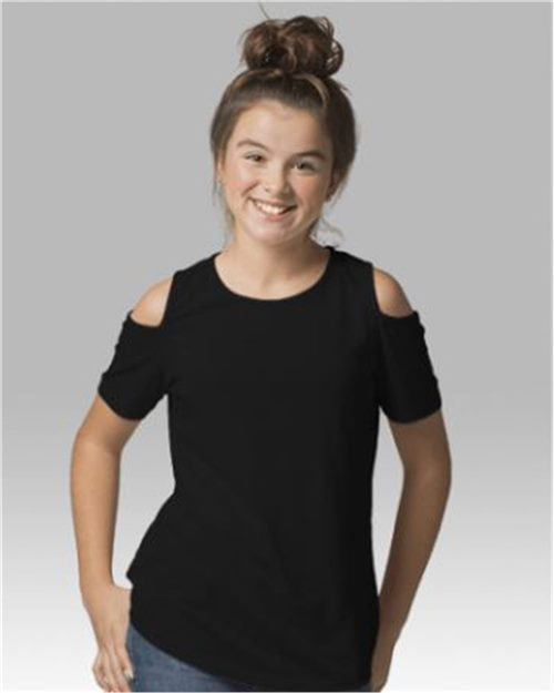 Boxercraft YT32 Girls Cold Shoulder T-Shirt Model Shot