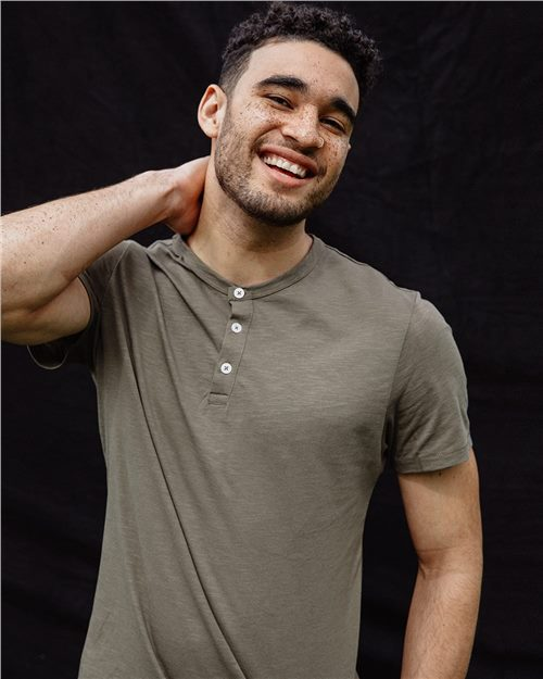 Alternative 6086 Weathered Slub Short Sleeve Henley Shirt Model Shot