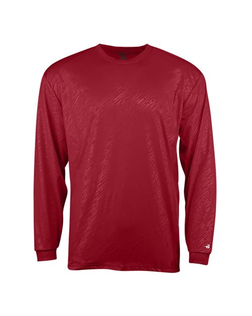 Badger 2145 Youth Line Embossed Long Sleeve T-Shirt Model Shot