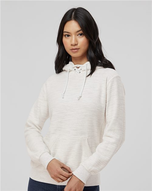 J. America 8694 Women's French Terry Sport Lace Scuba Hooded Pullover Model Shot