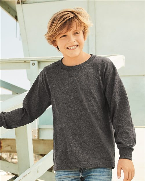 ALSTYLE 3384 Youth Classic Long Sleeve T-Shirt Model Shot