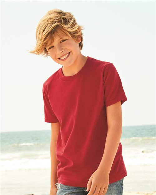 ALSTYLE 5081 Youth Ultimate Short Sleeve T-Shirt Model Shot