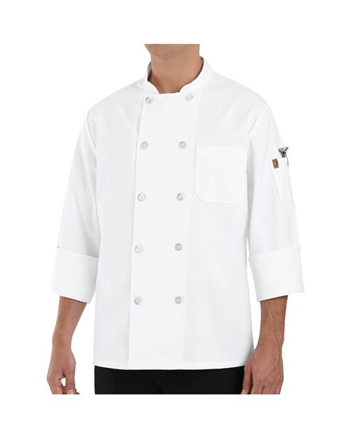 Chef Designs 0423 100% Polyester Ten Pearl Button Chef Coat Model Shot