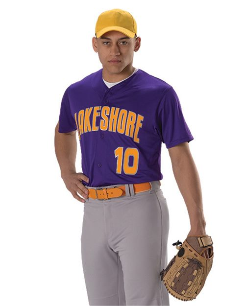 Alleson Athletic A00018 Youth Full Button Lightweight Baseball Jersey Model Shot