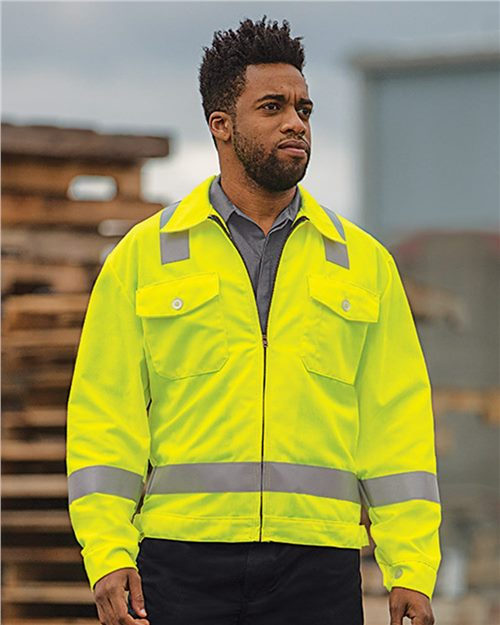 Red Kap JY32 Hi-Visibility Ike Jacket Model Shot