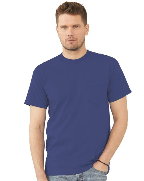 Bayside 7100 USA-Made Short Sleeve T-Shirt with a Pocket Model Shot